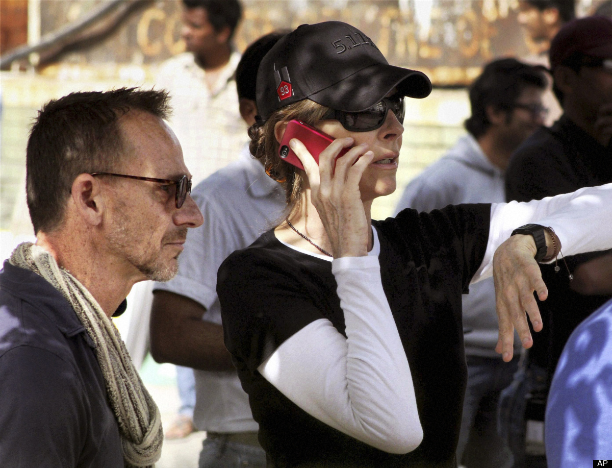 In this Saturday, March 17,2012 photo, Oscar winning director Kathryn Bigelow walks on the set of her upcoming film about Osa