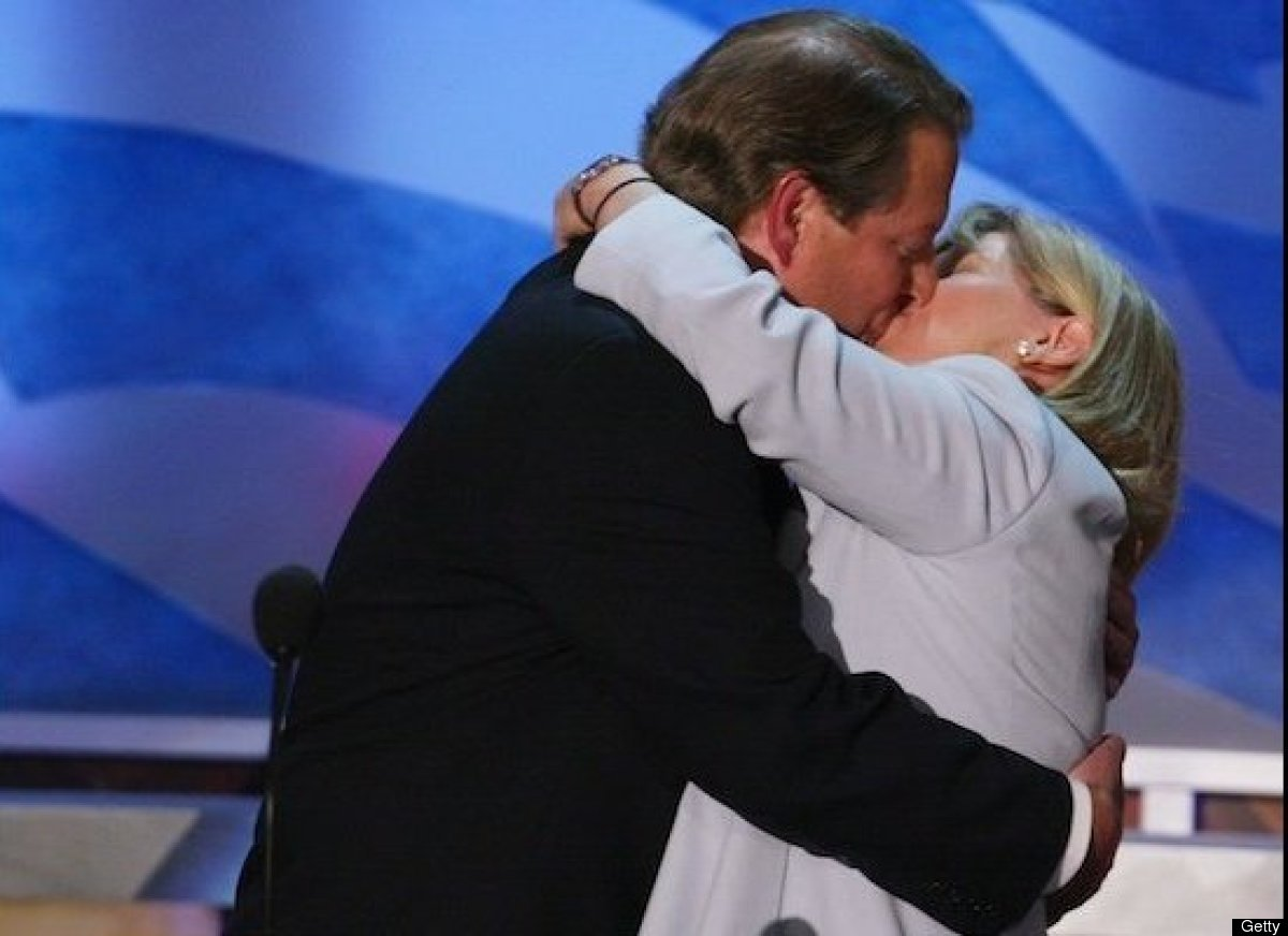 In 2004, Al Gore and then-wife Tipper captured headlines with a kiss on stage at the Democratic National Convention.
