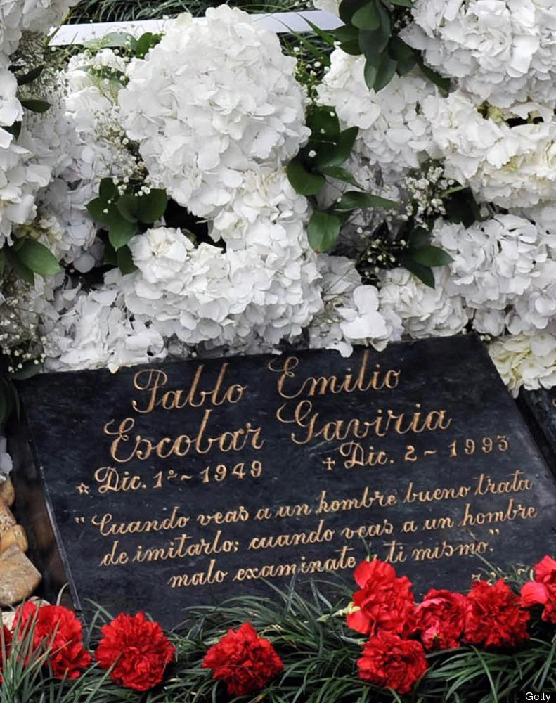 Picture of the tombstone of Colombian drug lord Pablo Escobar, taken on December 2, 2008, in Medellin, Antioquia department,