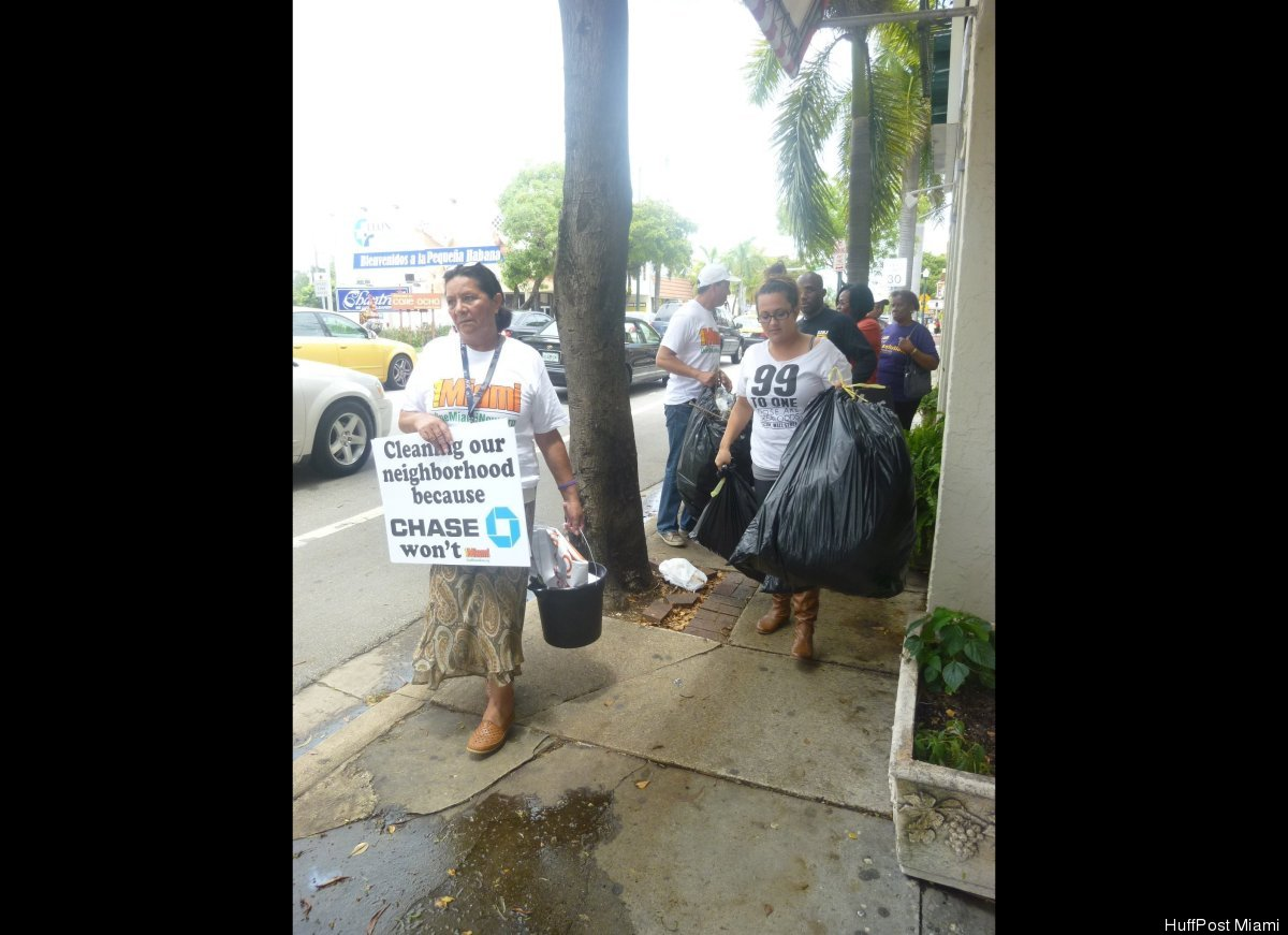 A few members of 1Miami make their way to Chase bank in Little Havana.