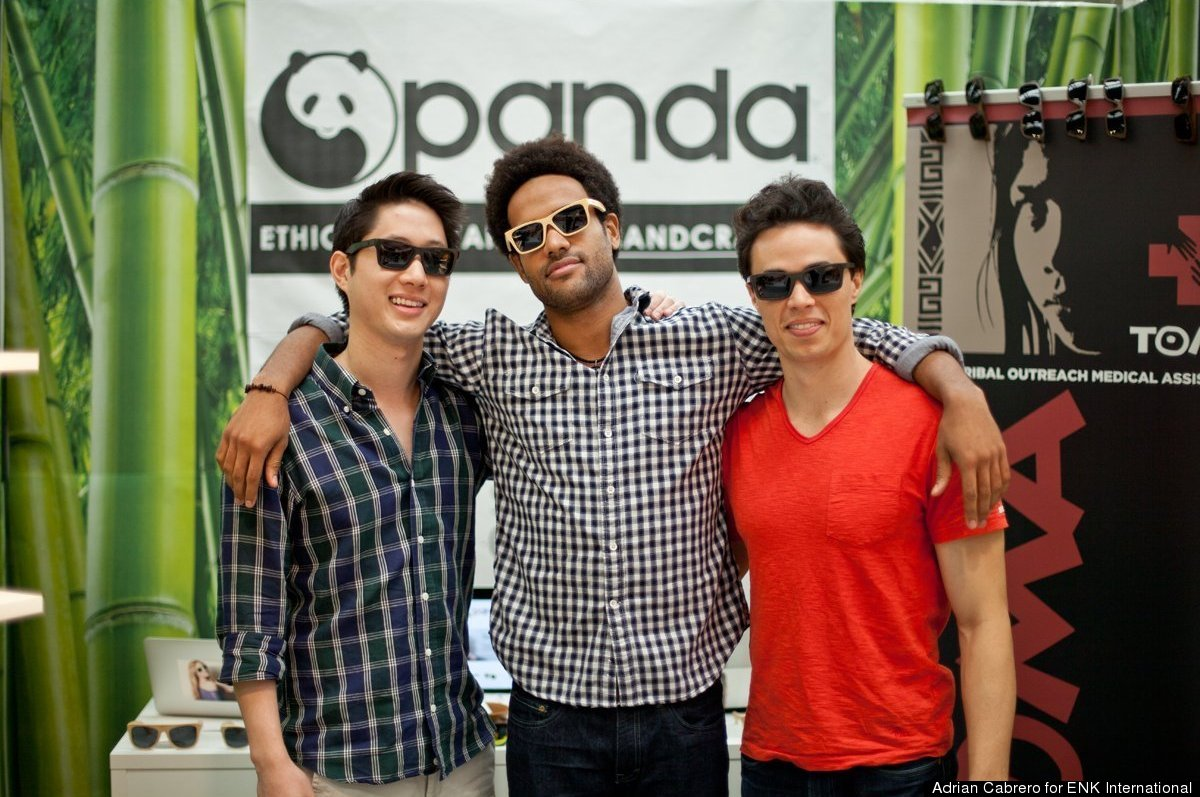 A portion of the Panda Sunglasses team: founder Vincent Ko, Idahosa Ness and Luke Lagera at the ENK accessories trade show. (