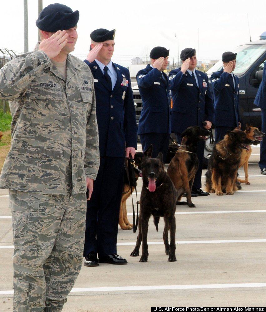 39th Security Forces Squadron military working dog handlers salute during the playing of the national anthem during a memoria