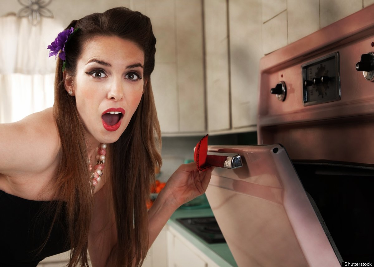 This woman is shocked, because she's just realized that you can't actually grill in an oven.