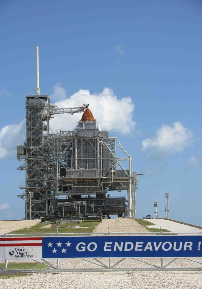 Space Shuttle Endeavour enshrouded on Launch Pad 39A before its last-ever flight.