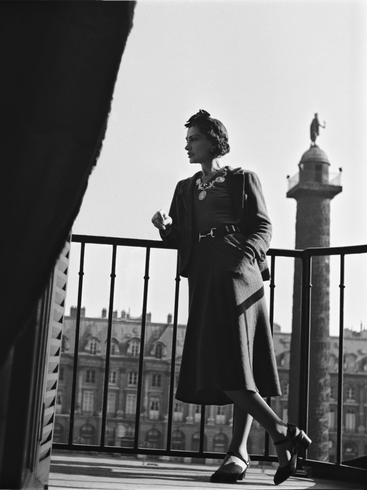 Coco Chanel on her balcony, 1937