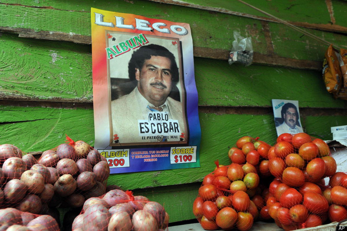 A poster promoting a magazine style publication about the life of the late Colombian drug trafficker Pablo Escobar hangs on t
