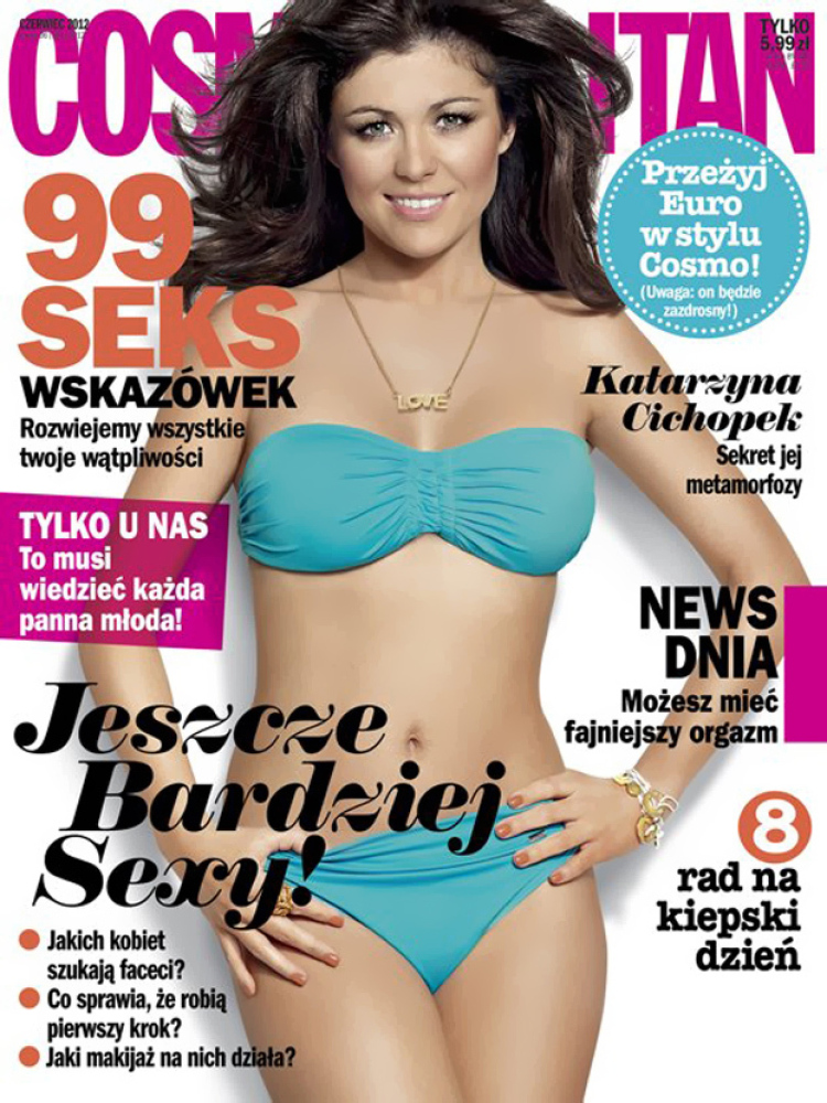 """Polish actress Katarzyna Cichopek looks just like a Barbie doll on the June 2012 cover of <a href=""""http://www.cosmo.pl/"""" targ"""
