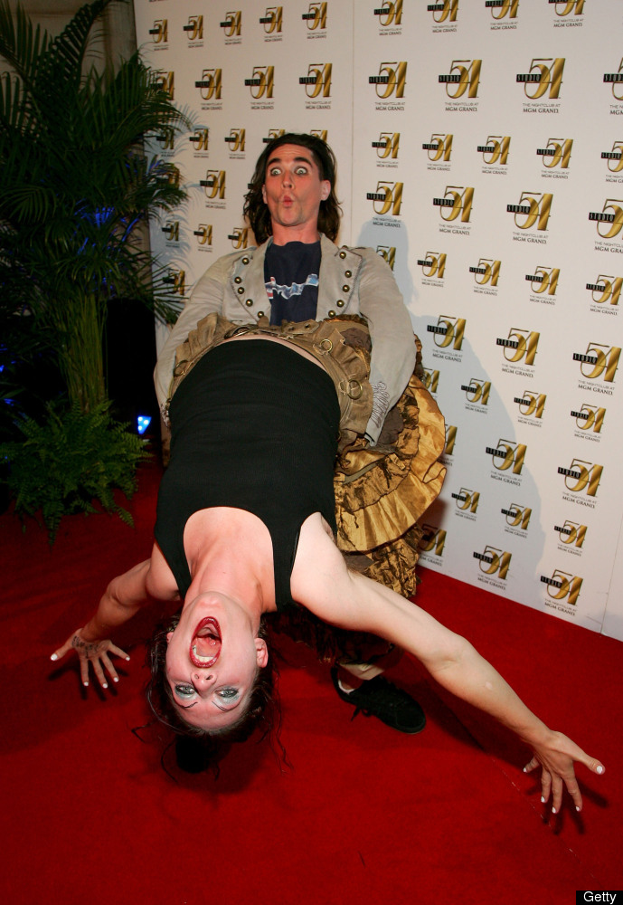 LAS VEGAS - JUNE 09:  Singer/pianist Amanda Palmer and drummer Brian Viglione from the band The Dresden Dolls attend the offi