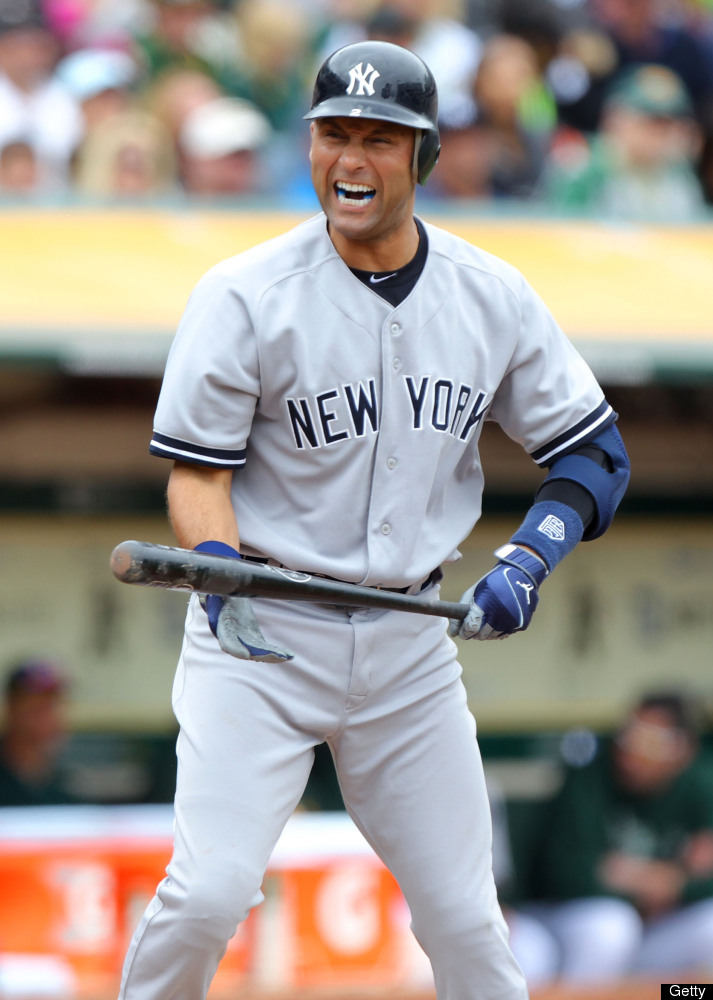 Derek Jeter reacts after fouling a ball off against the Oakland Athletics on May 27, 2012 in Oakland, Ca.
