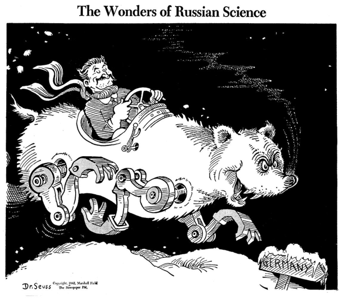 The Wonders of Russian Science, published by PM Magazine on January 16, 1942, Dr. Seuss Collection, MSS 230. Mandeville Speci