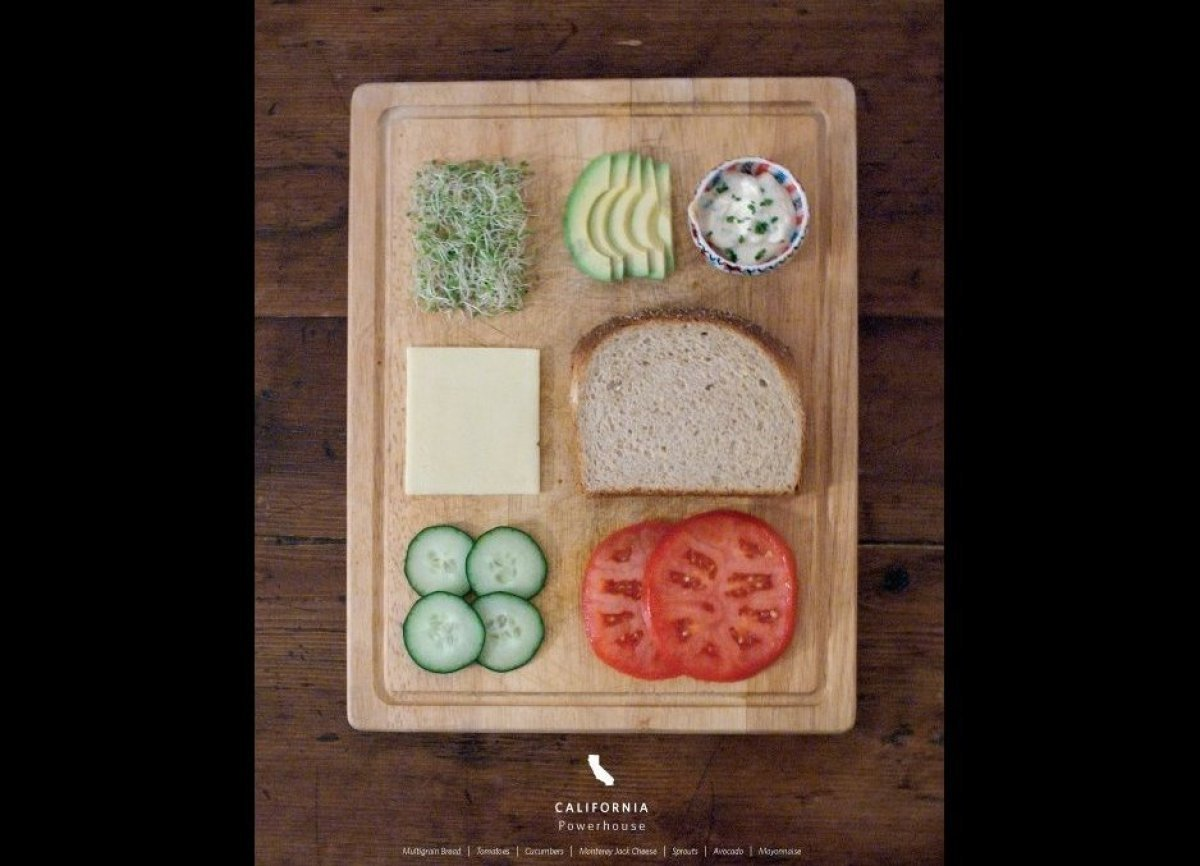 Avocado. Sprouts. Tomatoes. Cucumbers. Cheese. Chive mayo spread. Toasted multigrain bread.