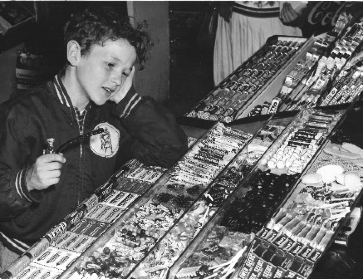 Contemplating penny candy in a Chicago shop, circa 1965.