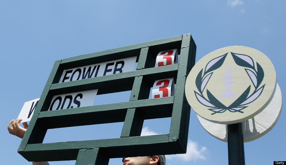 The names of Rickie Fowler and Tiger Woods are placed in a standard on the first tee during the final round of the Memorial T