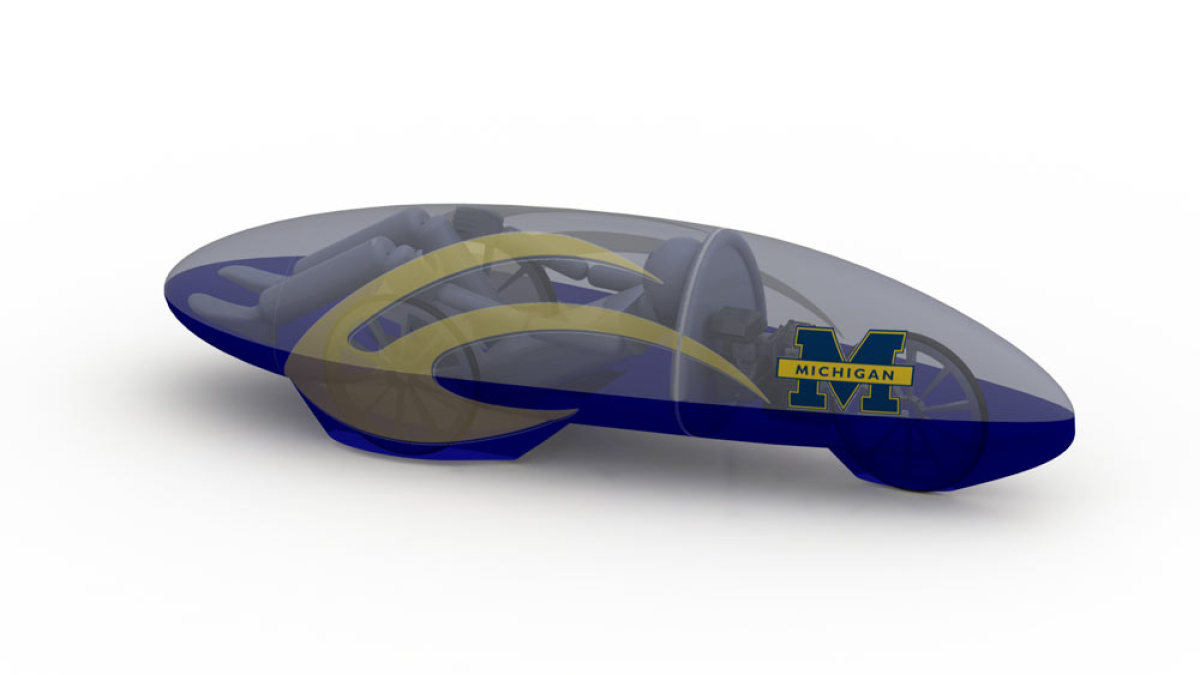 A conceptual drawing of the 2012 University of Michigan Supermileage Team vehicle. (Courtesy of the U-M Supermileage Team)