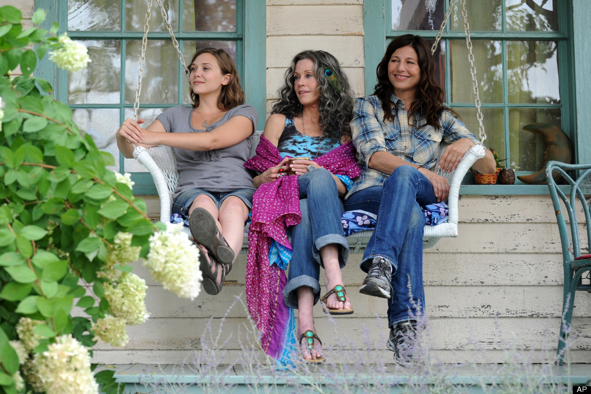 "Elizabeth Olsen, left, Jane Fonda and Catherine Keener in a scene from ""Peace Love & Misunderstanding."""