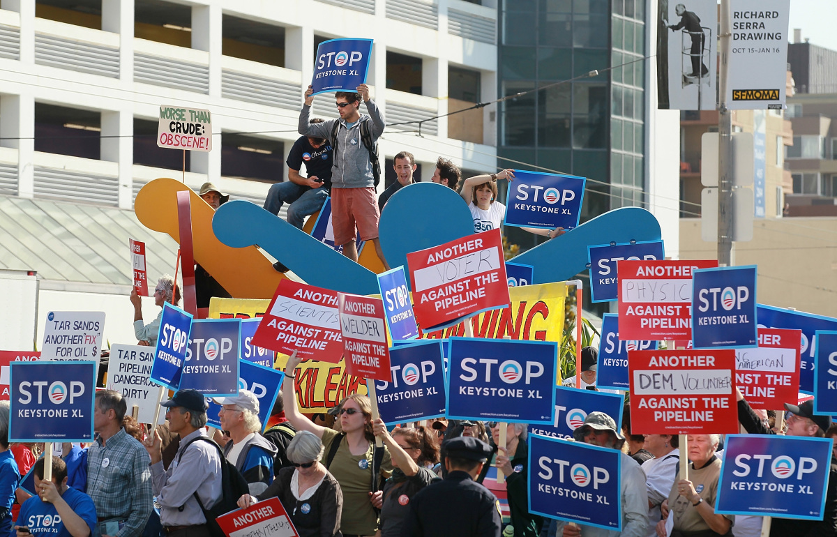 <em>From Getty:</em> SAN FRANCISCO, CA - OCTOBER 25:  Protestors against the construction of the Keystone XL oil pipeline hol