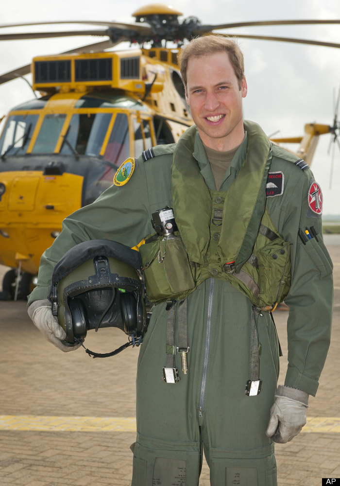 In this image made released by Britain's Ministry of Defence image shows a Friday June 1, 2012 of Britain's Prince William at