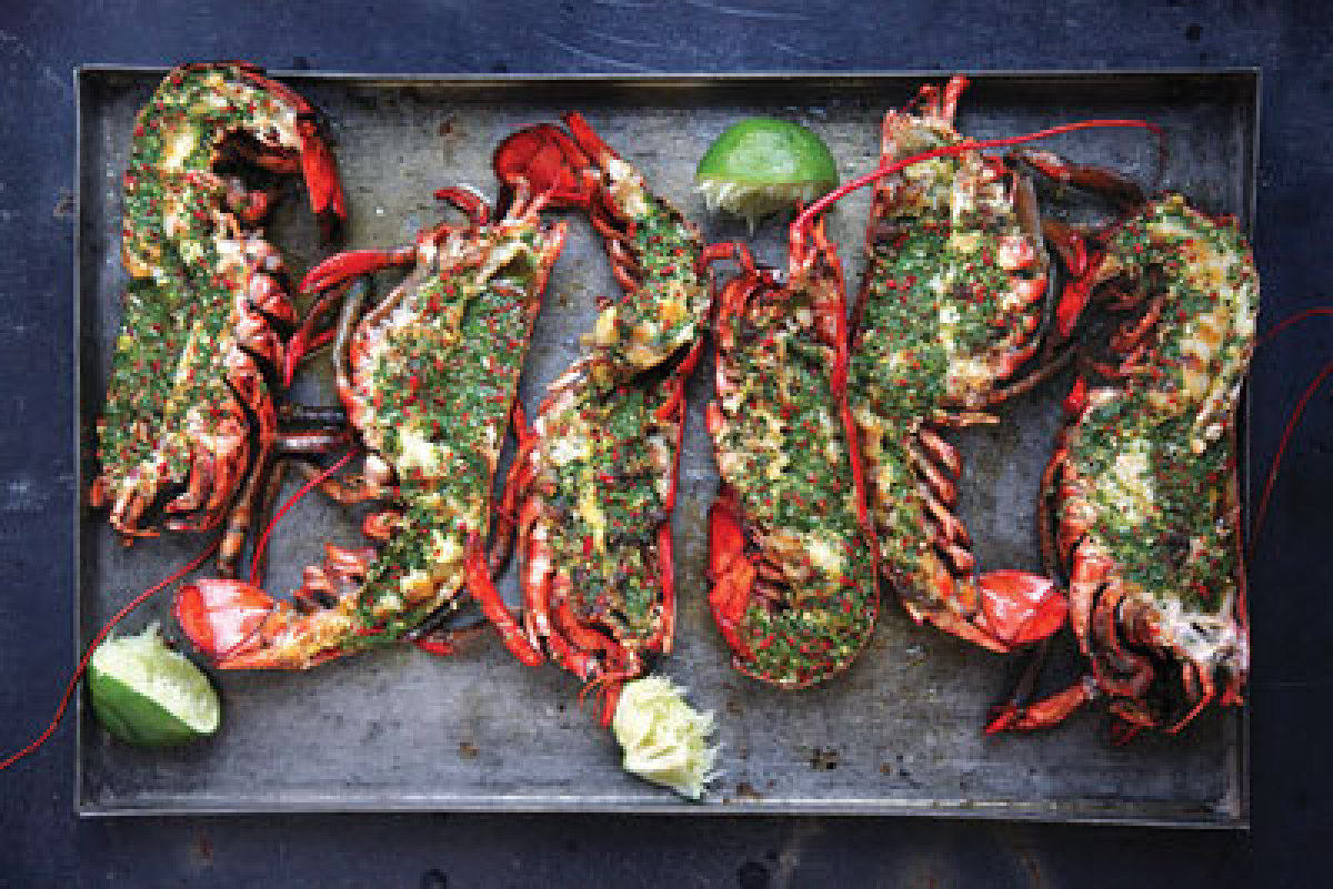 """Get the recipe <a rel=""""nofollow"""" href=""""http://www.saveur.com/article/Recipes/Grilled-Lobster-with-Cilantro-Chile-Butter?cmpid"""