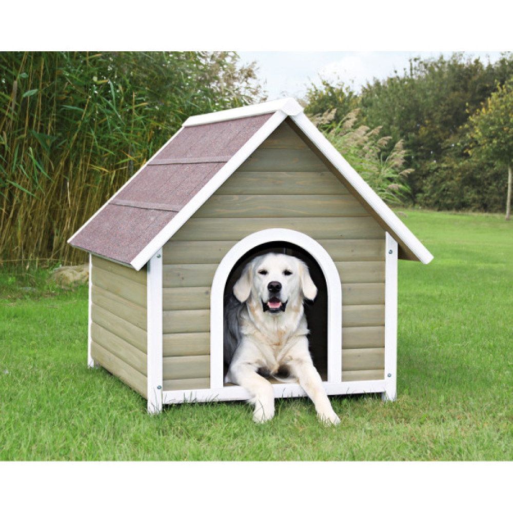 This dog house, made of solid pine, is waterproof both inside and out. It is draft-resistant and comes with durable shingles.