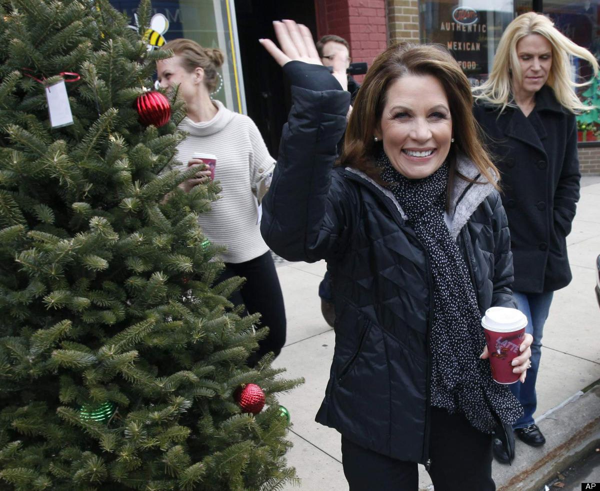 FILE - In this Dec. 19, 2011, file photo then Republican presidential hopeful U.S. Rep. Michele Bachmann, R-Minn., leaves a c