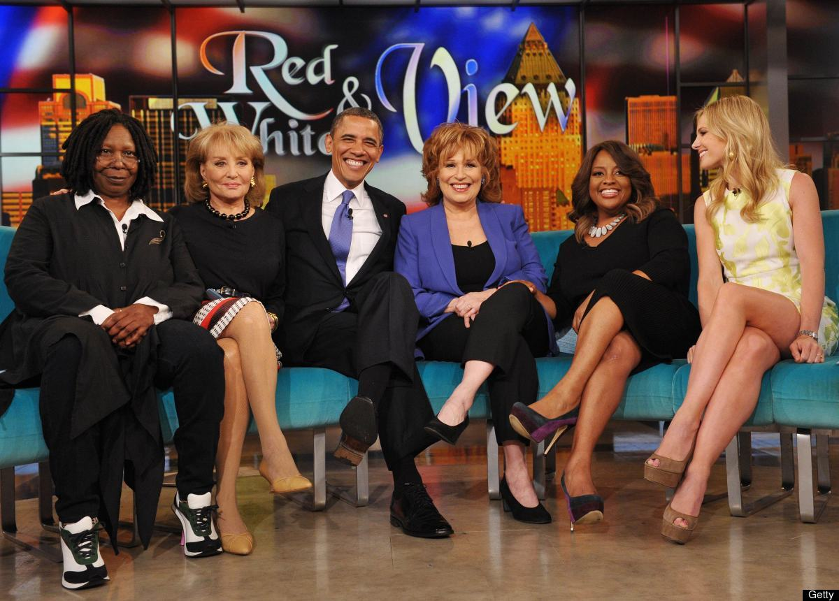US President Barack Obama appears on the television show 'The View' with hosts Barbara Walters (2nd L), Whoopi Goldberg (L),