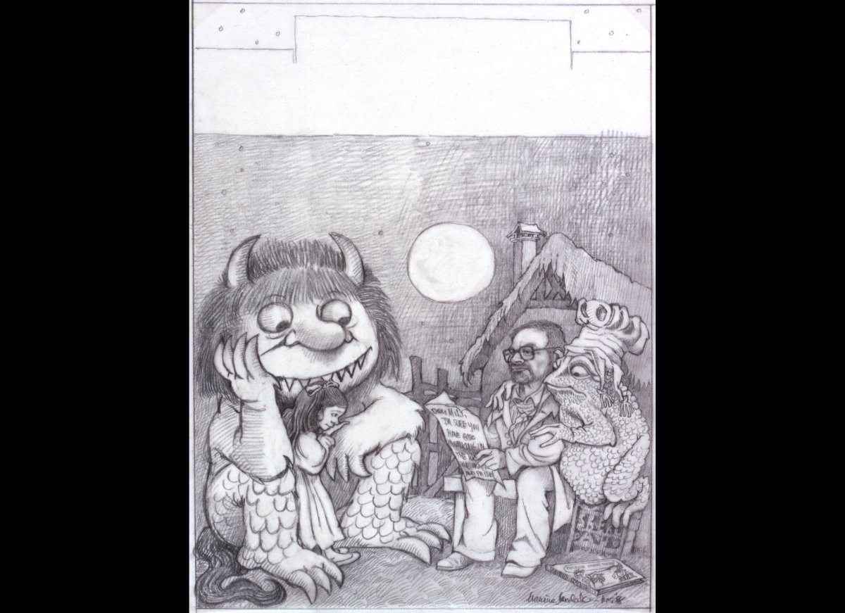 Preliminary drawing for Time magazine.  Pencil.  Gift of Justin Schiller.  © 1988 by Maurice Sendak.
