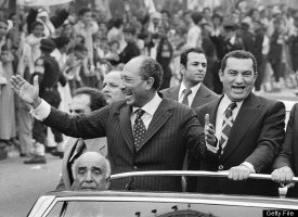 Mubarak came into power after Egyptian President Anwar Sadat (left) was assassinated in 1981. Throughout his career, Mubarak