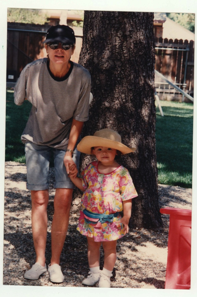 Hanging with my mom around age 3 (circa 1992). She rocked the rolled up khakis before anyone else. Also note the hat. It's an