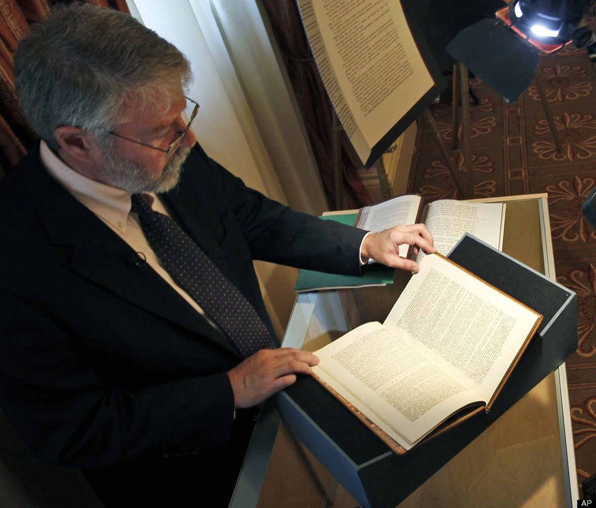 Chris Coover, senior specialist for rare books & manuscripts at Christie's shows President George Washington's personal copy