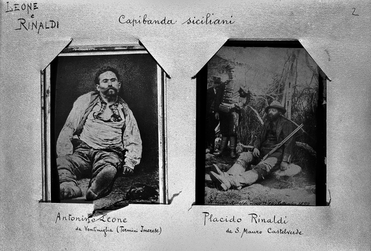 These images of brigand chiefs Antonino Leone and Placido Rinaldi, positioned after death in poses for photographs, were pres