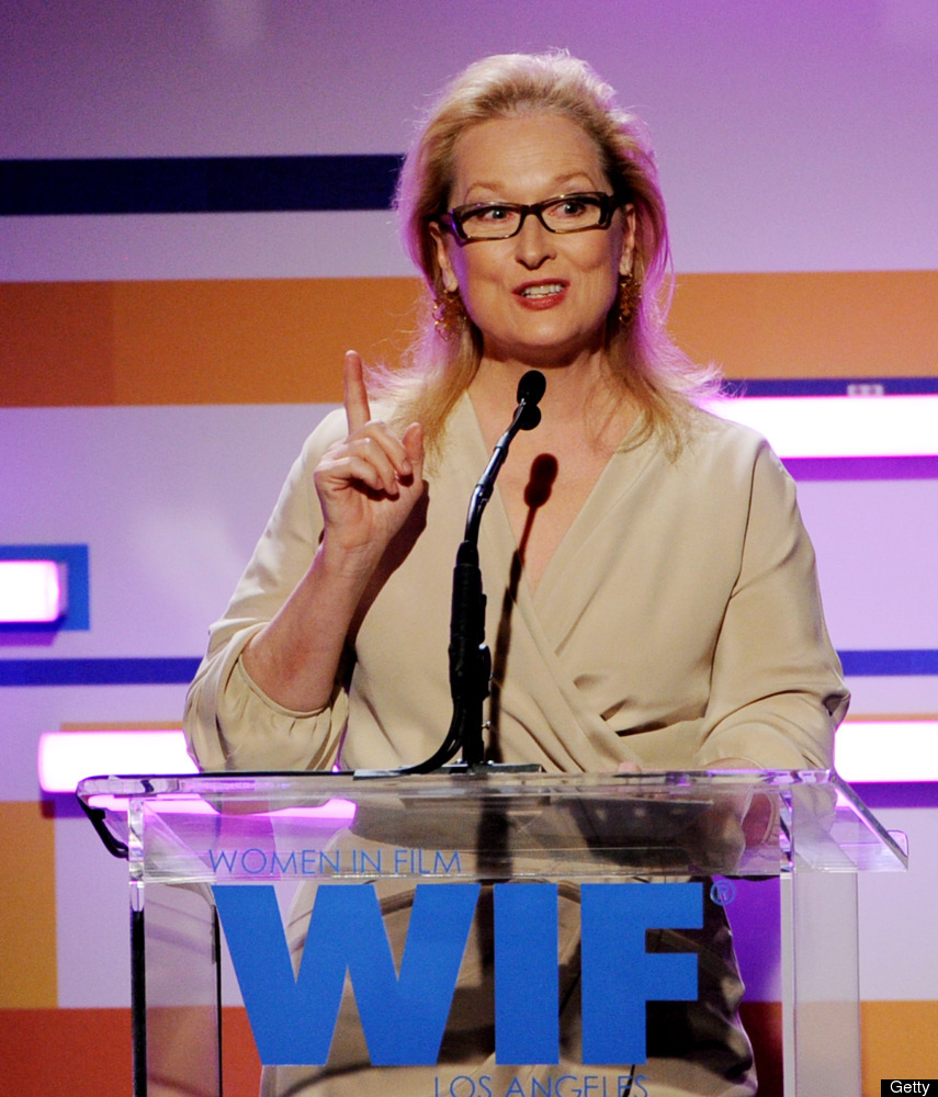 BEVERLY HILLS, CA - JUNE 12:  Actress Meryl Streep speaks at the 2012 Women In Film Crystal + Lucy Awards at the Beverly Hilt