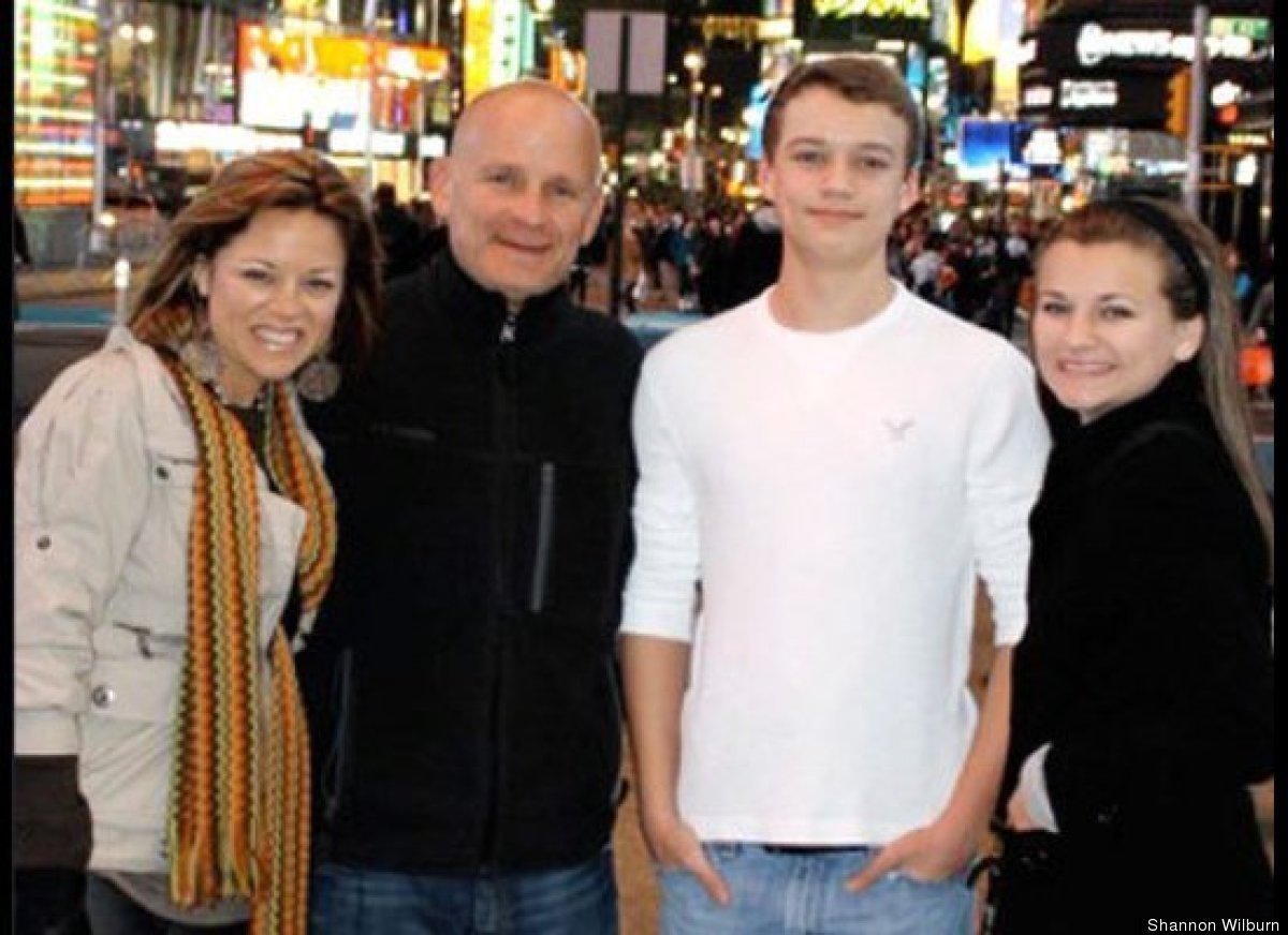 Shannon and her family in the big city.
