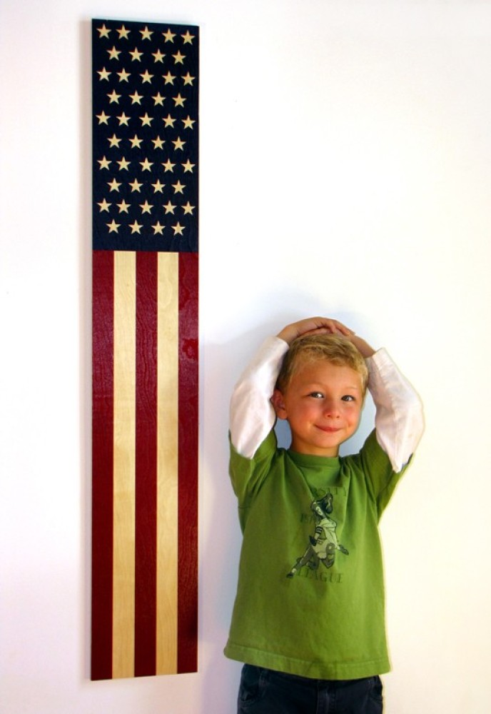 See how tall you are with a handy wooden American flag.