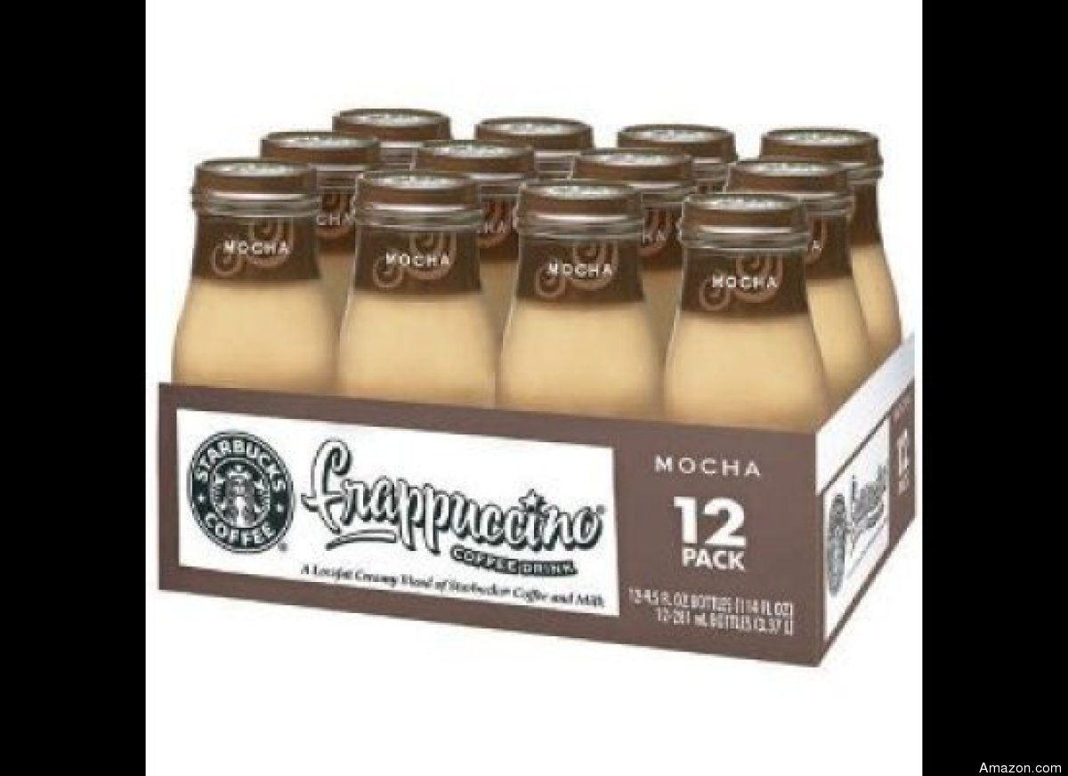 """The 9.5-ounce Starbucks to go contains <a href=""""http://www.frappuccino.com/en-us/products/bottled-frappuccino"""" target=""""_hplin"""