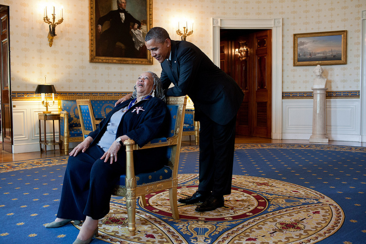 President Barack Obama talks with Presidential Medal of Freedom recipient Toni Morrison in the Blue Room of the White House,
