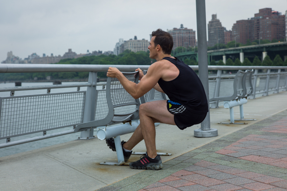 <em>Muscles</em>: Quads, Butt, Hamstring, Inner/Outer Thighs <br><br> • Start in a standing position with the feet wider th