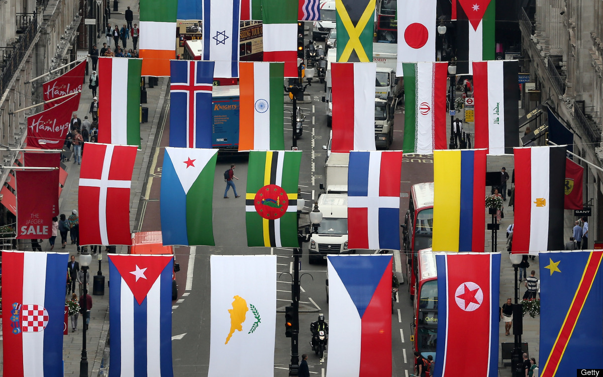 Regent Street Installs National Flags Ahead Of The Olympics. 