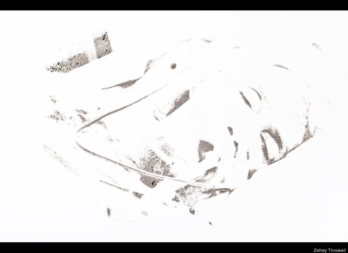 "Zefrey Throwell, ""Douglas Throwell #1, 59 Years Old,"" 2012, 127cm x 96.5cm, human ash, methamphetamine, acrylic on paper."