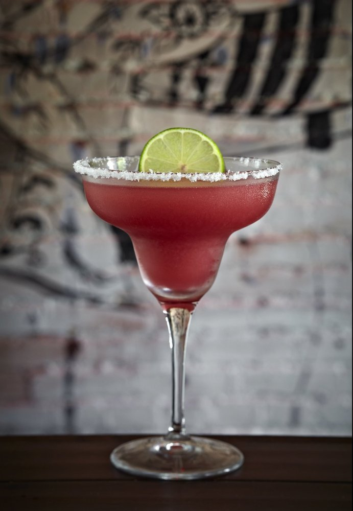 Patron Reposado Tequila, Orange Curacao, Fresh Lime Juice and Prickly Pear Puree