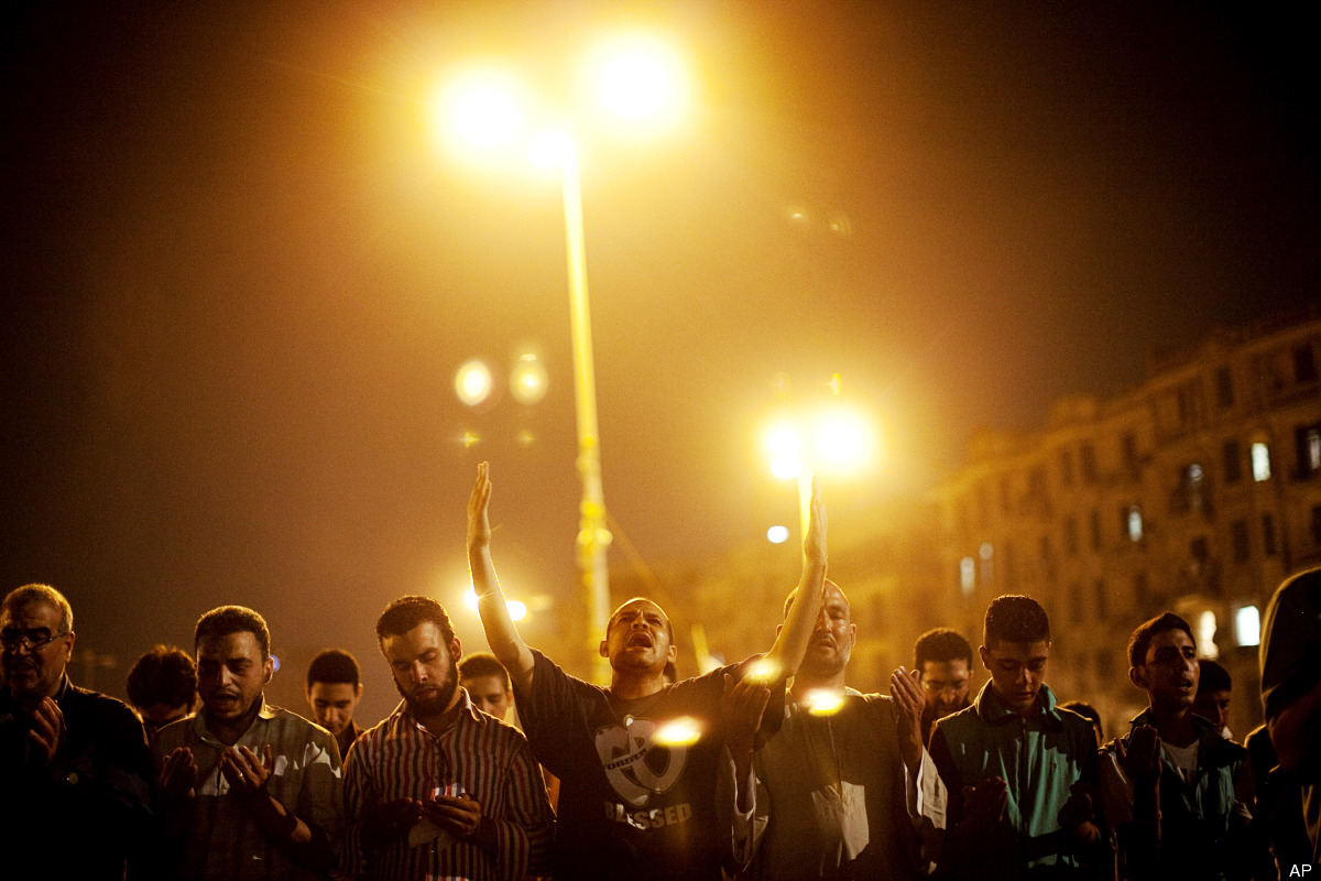 Egyptians gather to protest ongoing military rule in Tahrir Square in Cairo, Egypt on Friday, June 15, 2012. (AP Photo/Pete M