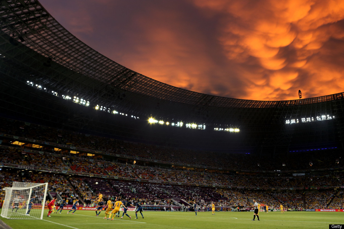 A general view during the UEFA EURO 2012 group D match between Ukraine and France at Donbass Arena on June 15, 2012 in Donet