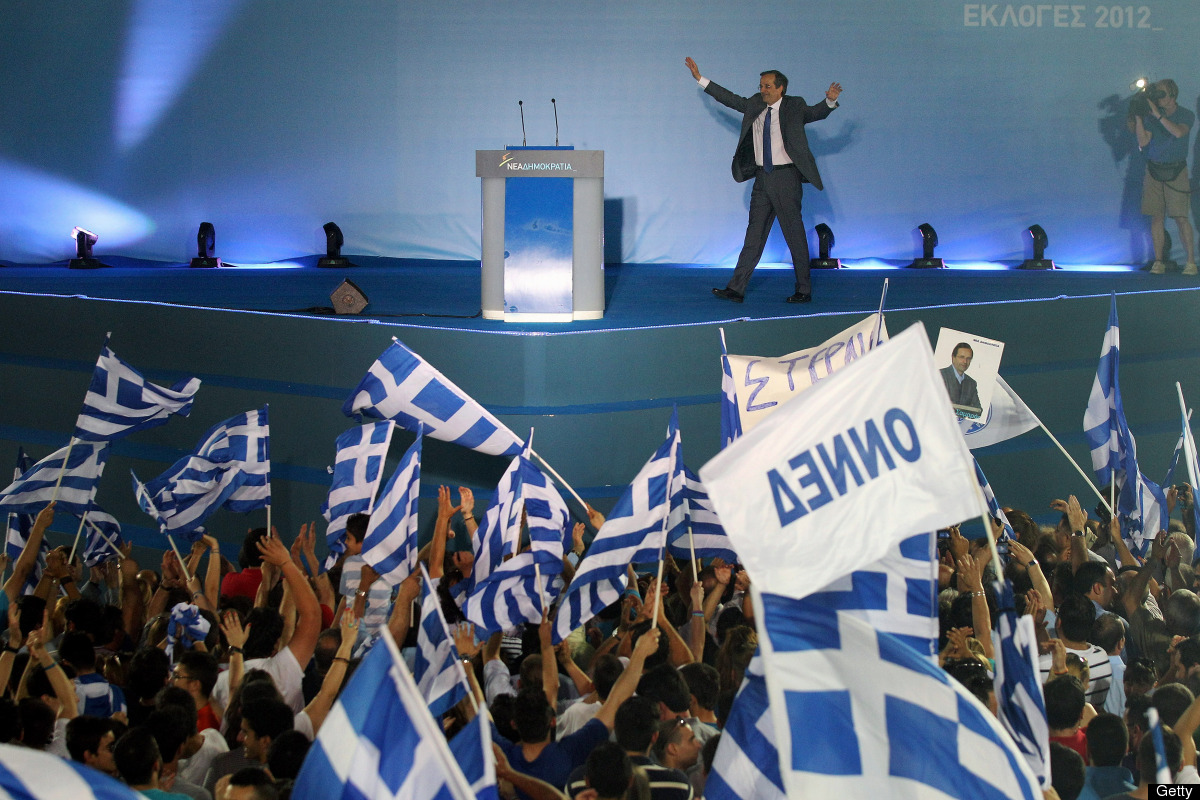 Antonis Samaras, the leader of the New Democracy party, addresses a crowd of supporters at a rally ahead of Sunday's general