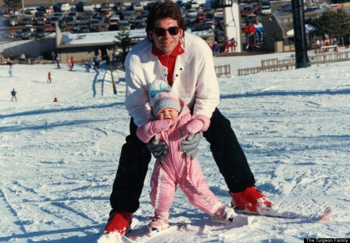 My first time out on the slopes. They didn't make ski boots small enough, so my feet are strapped to the skis! No, I'm not up
