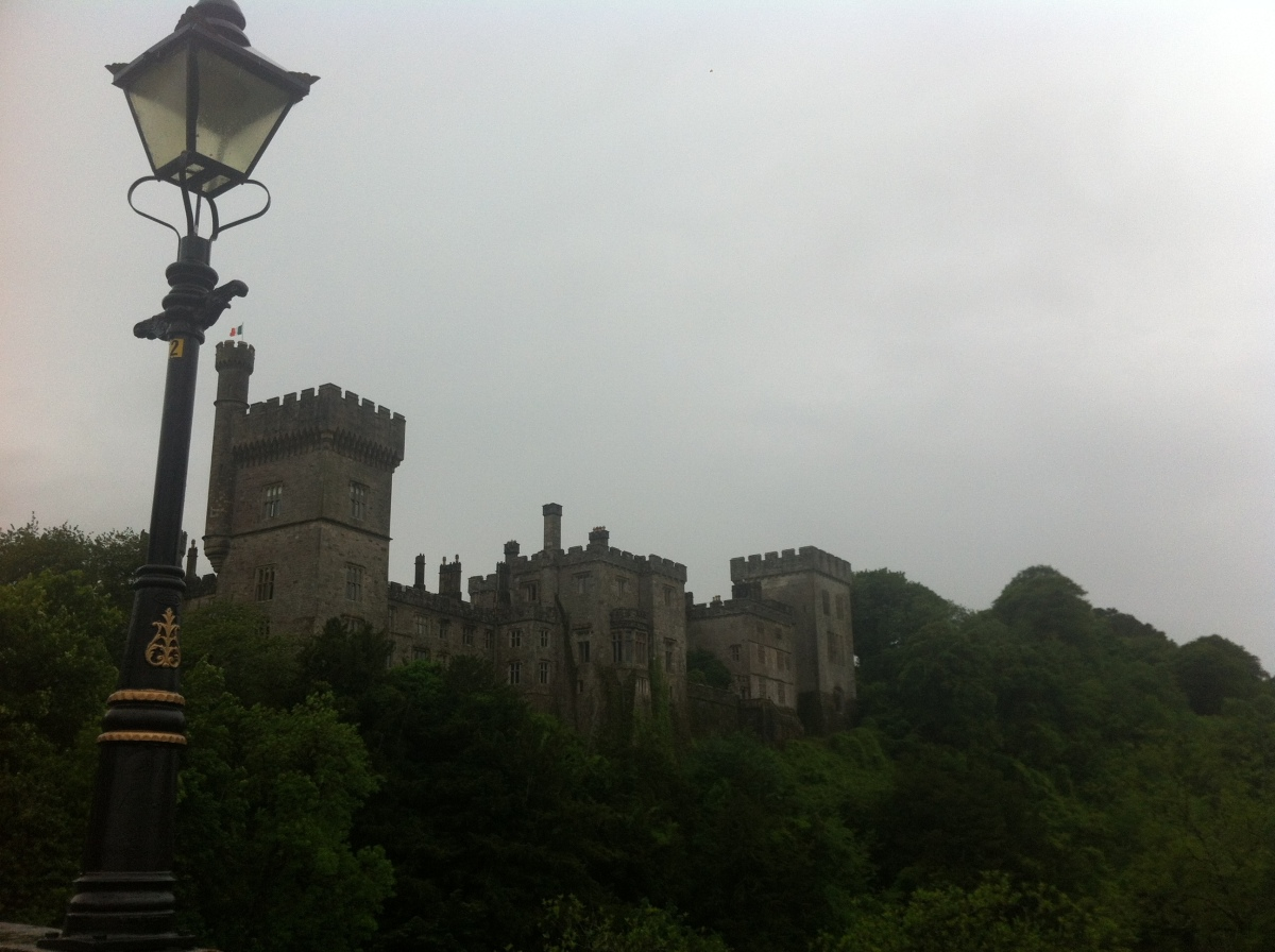 The exterior view of Lismore Castle from the footbridge. Lismore Castle is one of the oldest castles in Ireland, located in t