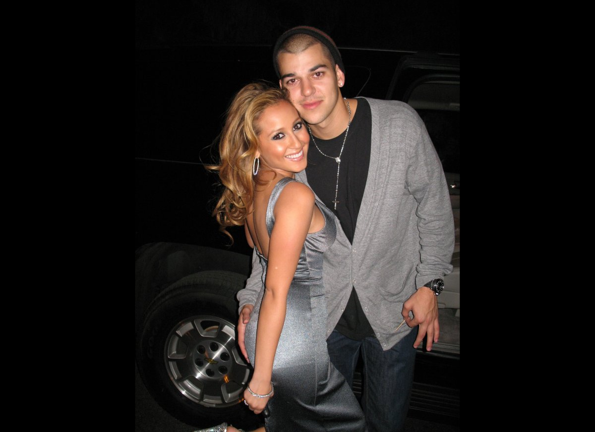 Adrienne Bailon of The Cheetah Girls and her boyfriend, Kim's brother Robert Kardashian pose early morning as they attend Soc