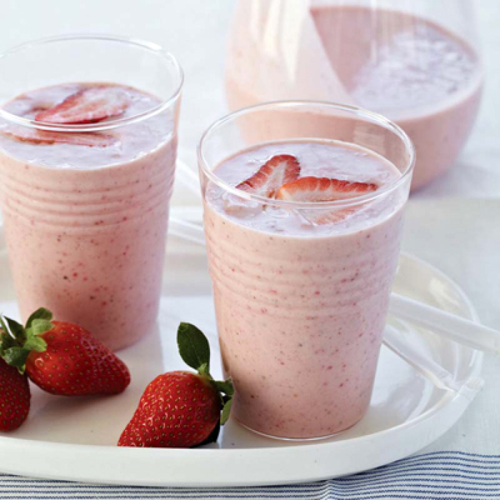 """<strong>Get the <a href=""""http://www.foodandwine.com/recipes/strawberry-banana-and-almond-butter-smoothie"""" target=""""_hplink"""">St"""