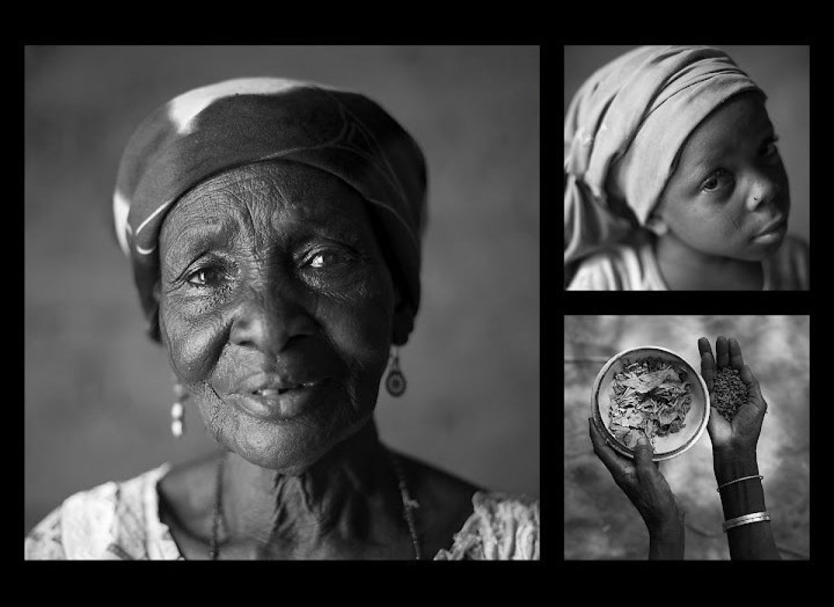 Clockwise from left: Delou Ibrahim, 70. Her granddaughter Latifa, 8. Delou's hands hold sorrel leaves, used as a condiment, a