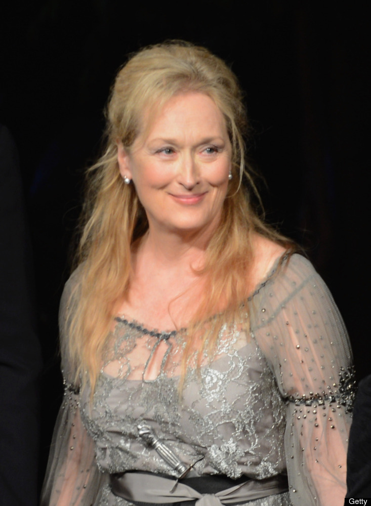 NEW YORK, NY - JUNE 18: Meryl Streep poses for a curtain call during 2012 Public Theater Gala at Delacorte Theater on June 18