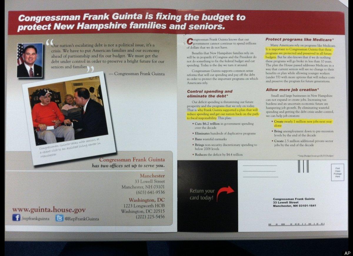 Congressman Frank Guinta (R-N.H.) proposes adjusting medicare in a newsletter.