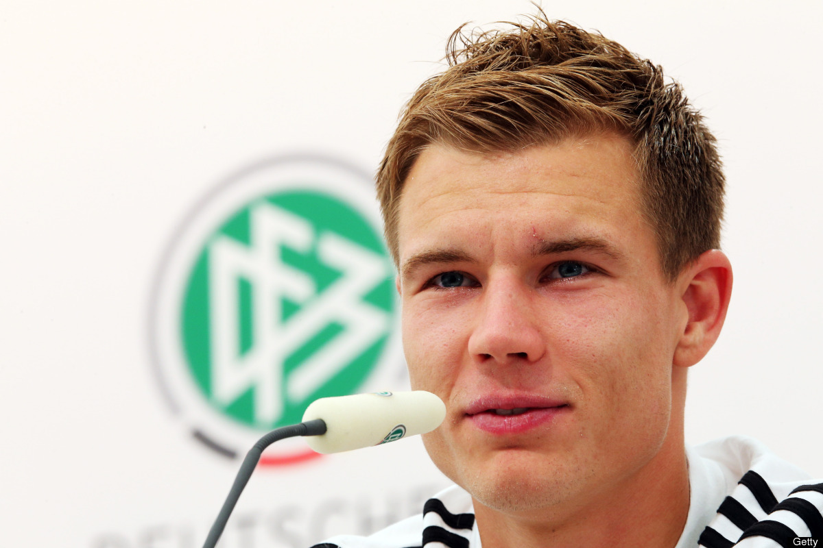 Holger Badstuber of Germany attends a press conference ahead of their UEFA EURO 2012 Quarter-final match against Greece, at t